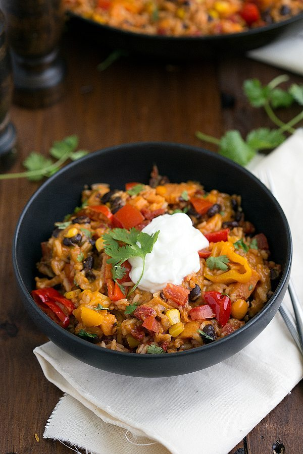 A one-skillet 30-minute sweet potato burrito bowl. Best dinner ever!!