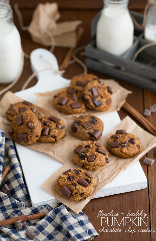 Flourless + Secretly Healthy Pumpkin Chocolate Chip Cookies. These have received RAVE reviews!