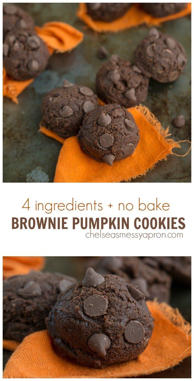 4 ingredients NO BAKE Brownie pumpkin cookies! #pumpkin #brownie #chocolate #nobake #cookie