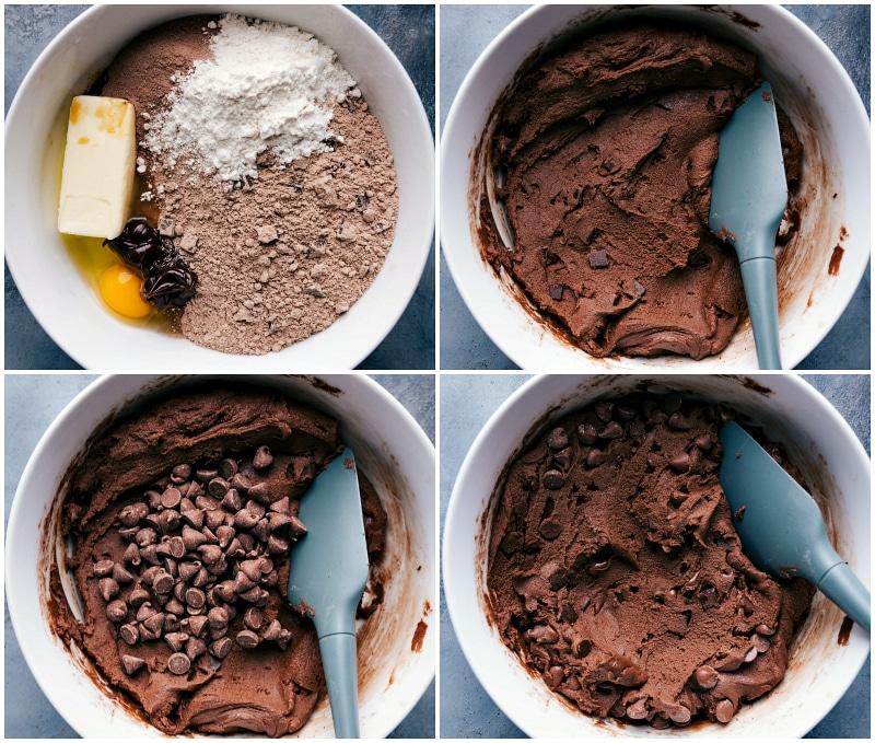 Process shot-- images of the cookie dough being made showing all the ingredients in a bowl and then them being mixed together and the chocolate chips being added
