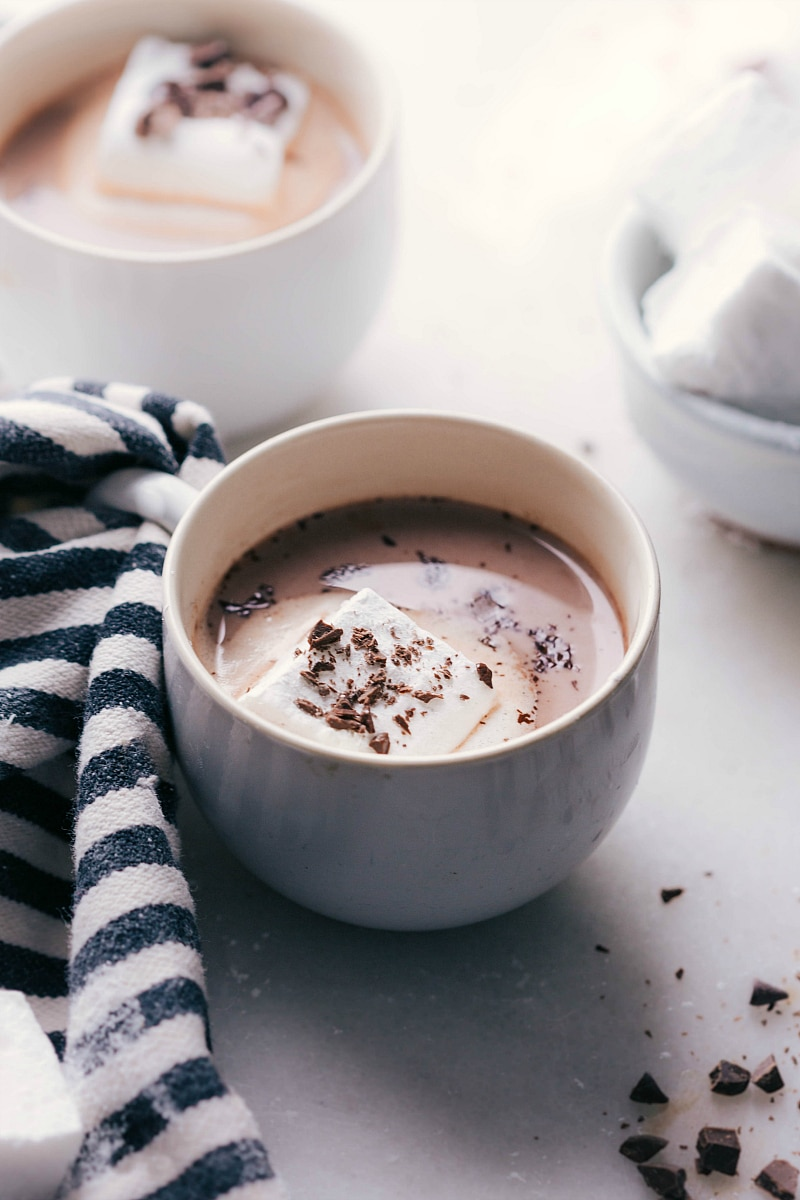 Overhead image of Homemade Marshmallows in a cup of hot chocolate, perfect for a cold day.