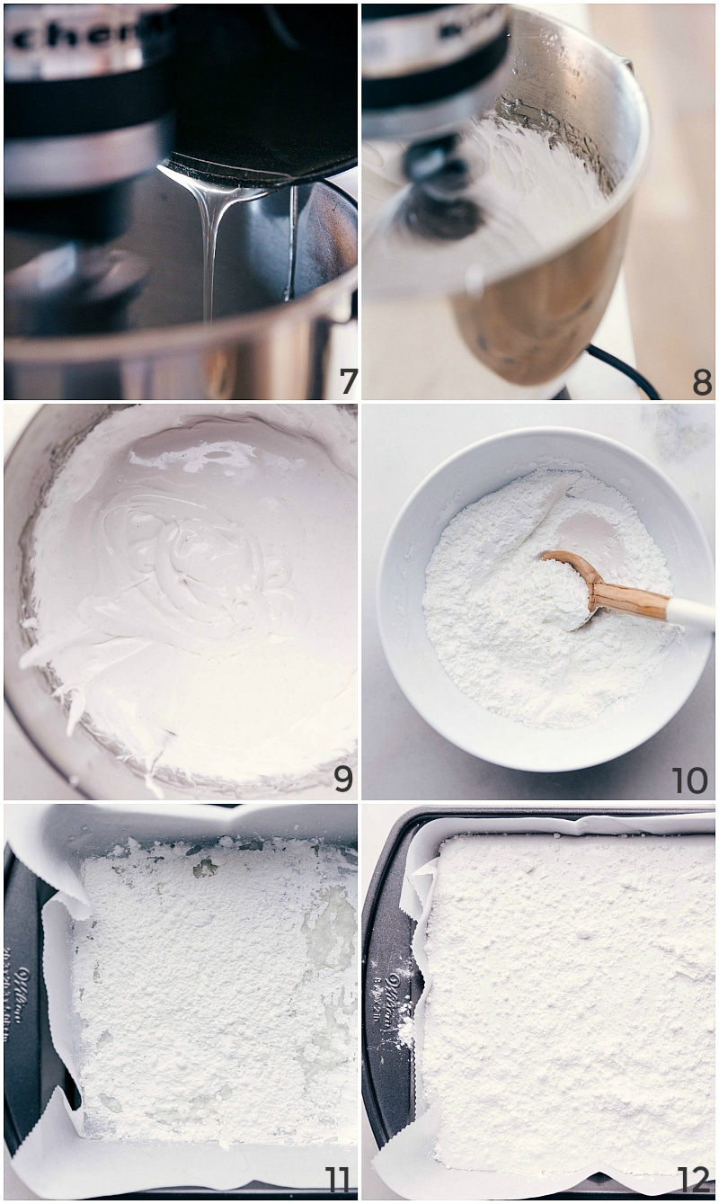 Process shot-- drizzling the syrup into the gelatin; mixing for 10-15 minutes; the appearance of the marshmallow batter; mixing powdered sugar and cornstarch; sprinkling the cornstarch mixture in the bottom of the pan; sprinkling more on top of the marshmallows.