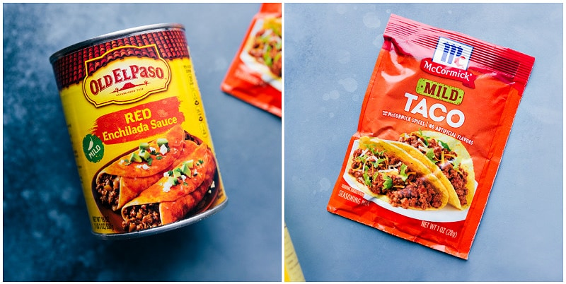 Ingredient shot-- images of the enchilada sauce and taco seasoning used in this recipe.
