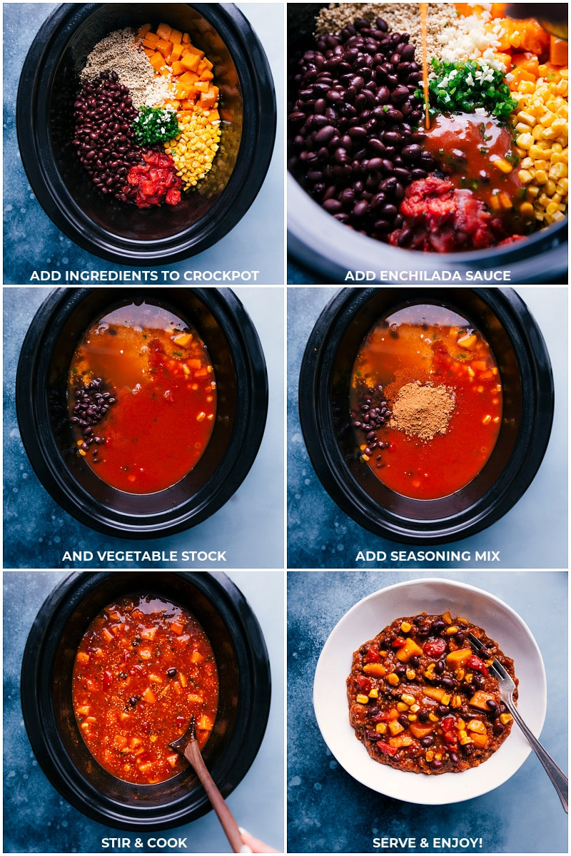 Process shots-- images of all the ingredients being added to the slow cooker and being cooked.