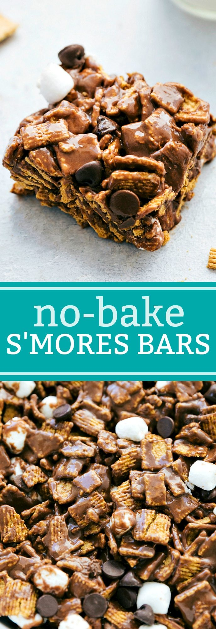 6-ingredient NO BAKE S'mores Bars!! These smores bars are unbelievably delicious and so easy to make! I chelseasmessyapron.com