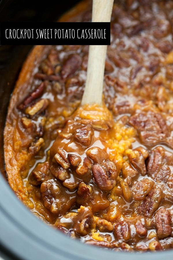 Save your oven space! The BEST crockpot sweet potato casserole