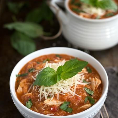 Slow Cooker Chicken Parm Quinoa Soup