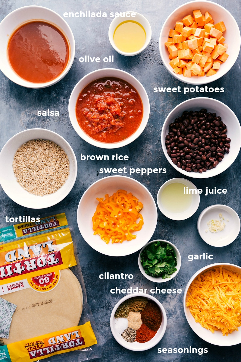 Process shot of all the ingredients that go into these enchiladas