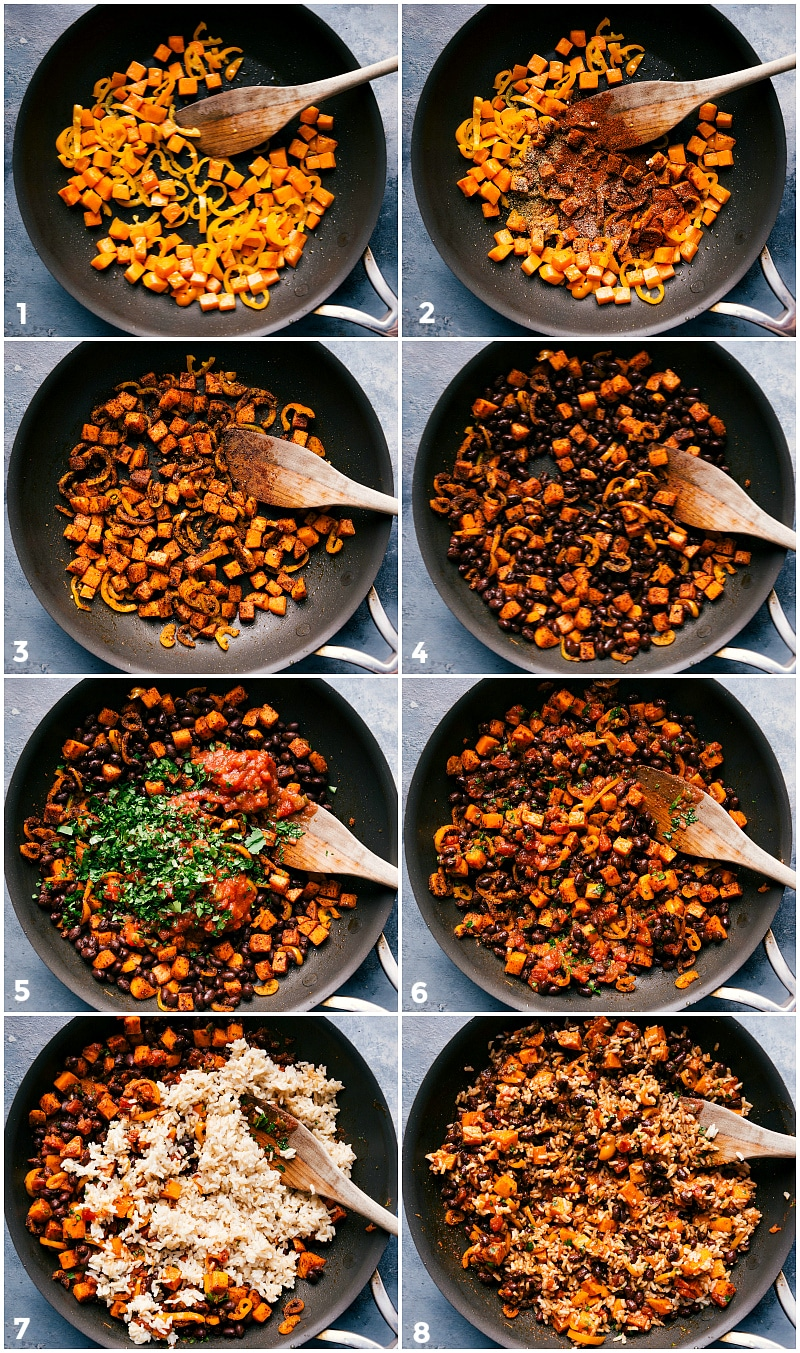 Process shot-- image of the filling of the sweet black bean enchilada being made