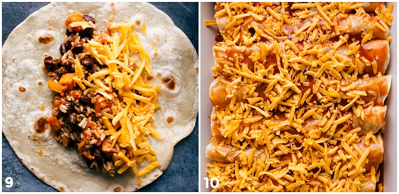 Process shot-- image of the filling going into the tortilla and then the sweet potato enchiladas being placed in a casserole dish with fresh cheese on top