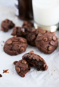 Triple-Chocolate Hot Fudge Brownie Cookies made with real hot fudge! #cookie #chocolate #brownie