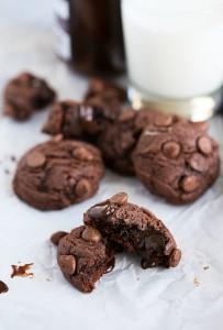 Triple-Chocolate Hot Fudge Brownie Cookies made with real hot fudge! #cookie #chocolate #brownie