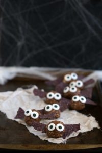 Healthy Halloween Snack - Bat Energy Bites