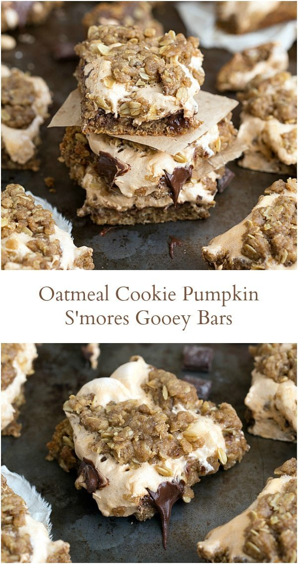 Oatmeal Cookie Pumpkin S'mores Gooey Bars