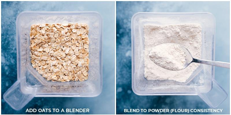 Process shots-- making oat flour in the blender