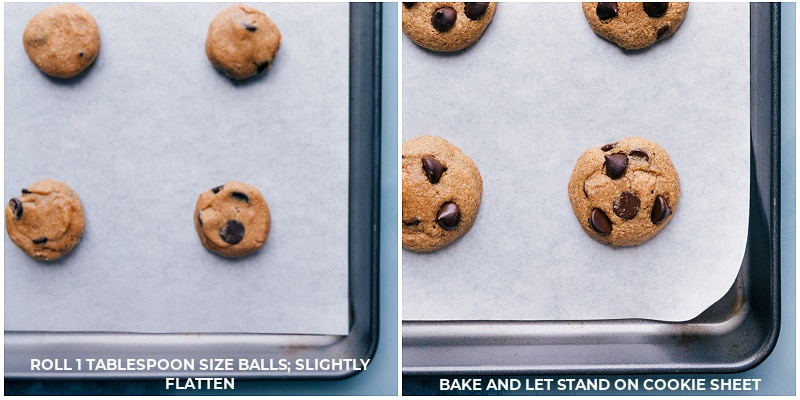 Process shots-- images of the cookie dough on a tray and then cookies fresh out of the oven