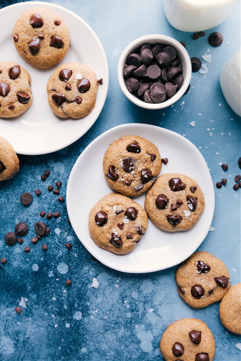 Overhead image of two plates full of Healthy Chocolate Chip Cookies