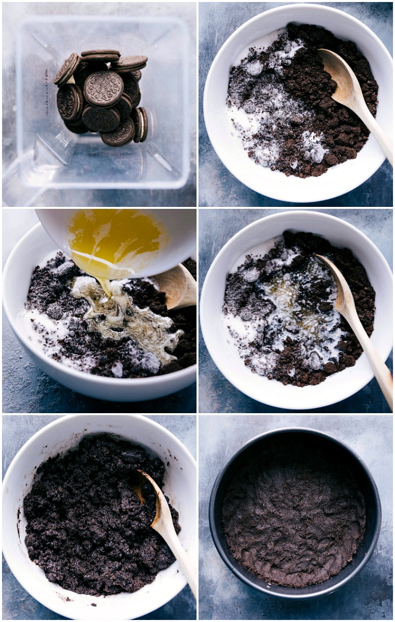 Process shots-- images of the Oreo crust being made for this cheesecake