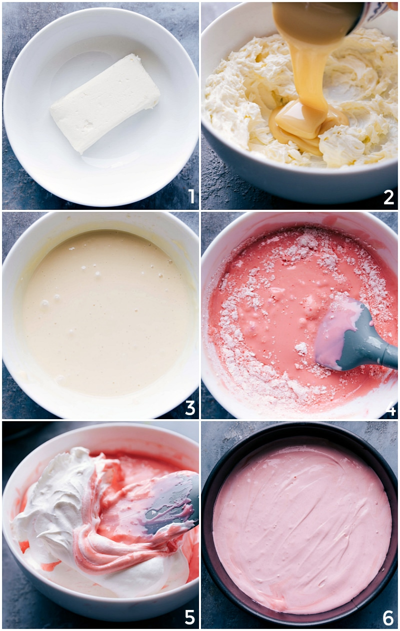 Process shots-- images of the easy No-bake Peppermint Cheesecake filling being made