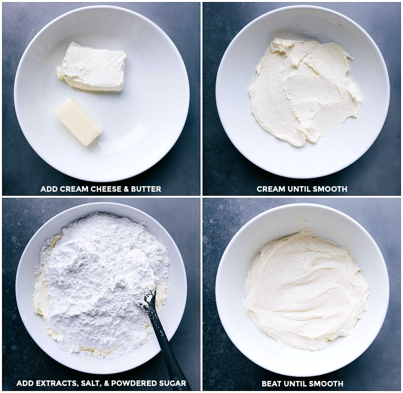 Process shots: make the frosting by combining softened cream cheese and butter; cream until smooth; add extracts, salt and powdered sugar; beat until smooth then add to the peppermint sugar cookies