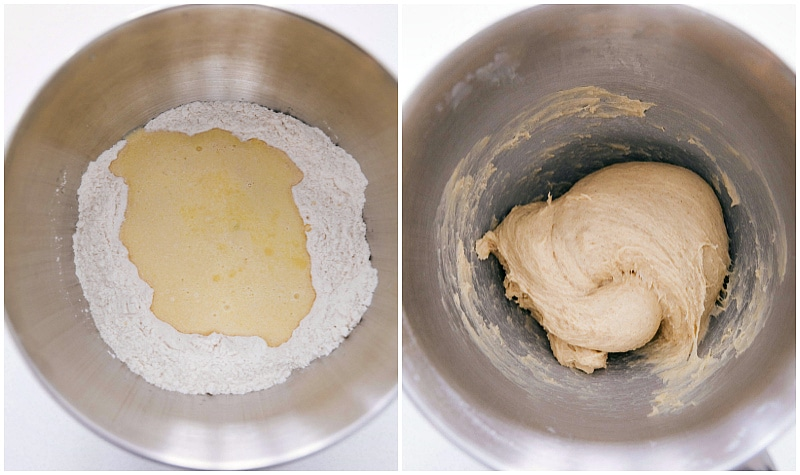 Process shot of whisking together dry ingredients, add in wet, and mixing it all together for Homemade Cinnamon Rolls