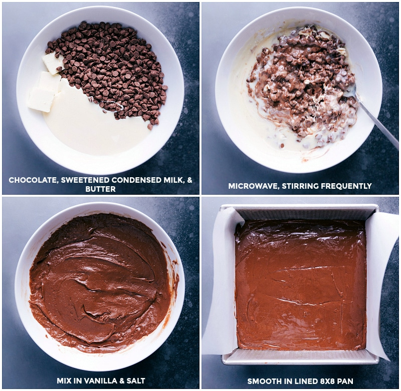 Process shots-- images of the chocolate, sweetened condensed milk, and butter being added to a bowl and melted. Then the melted chocolate being added to a prepared 8x8-inch pan.