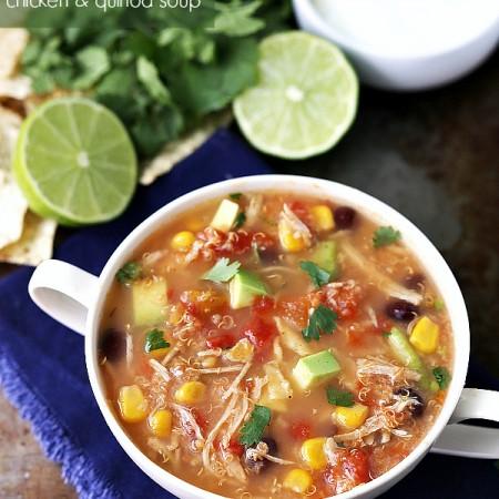 Slow Cooker Mexican Tortilla Chicken and quinoa soup