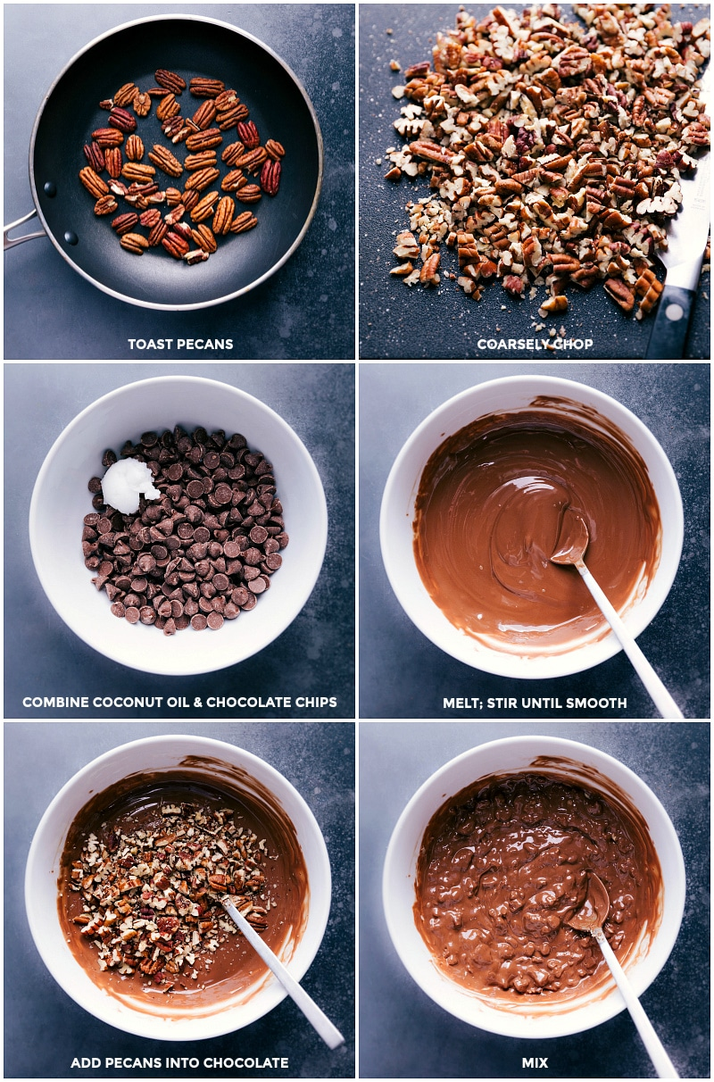 Process shots: toast pecans and then coarsely chop; combine coconut oil and chocolate; melt until smooth; add pecans and mix.