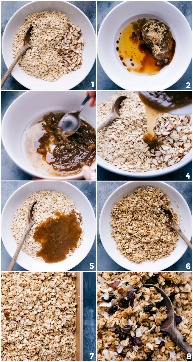 Process shots showing all the ingredients being added to a bowl, mixed together, and then spread on a sheet pan.