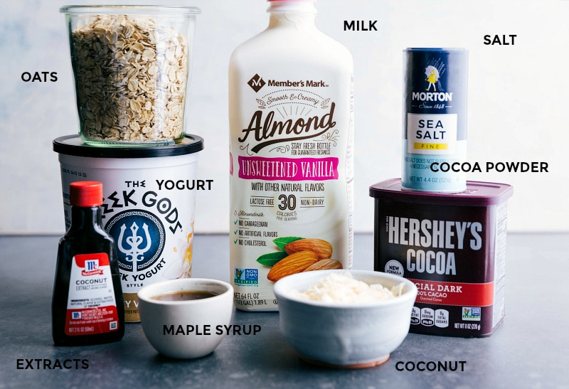 Ingredient shot--image of all the ingredients in Almond Joy Overnight Oats.