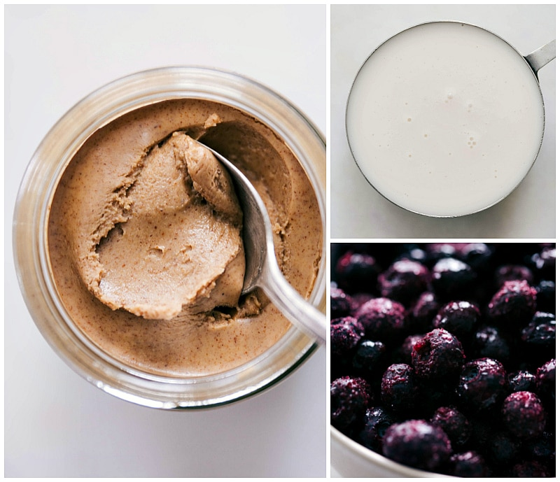 Ingredient shots-- images of the almond butter, almond milk, and frozen blueberries