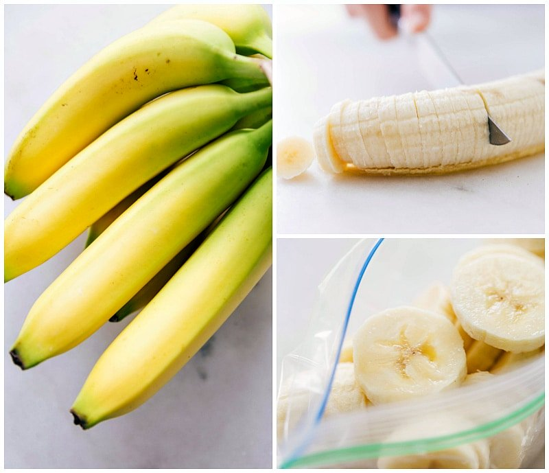Image of bananas being coined and cut up and put in a plastic bag to be frozen