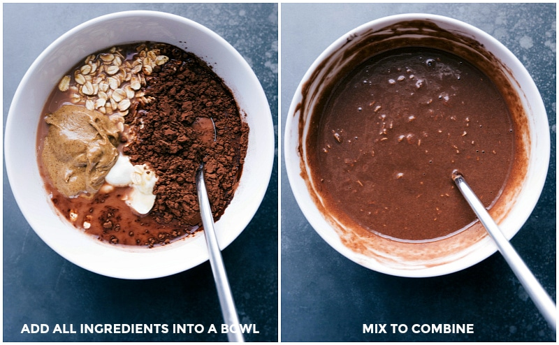 Process shots-- images of all the ingredients in a bowl and then them being mixed together
