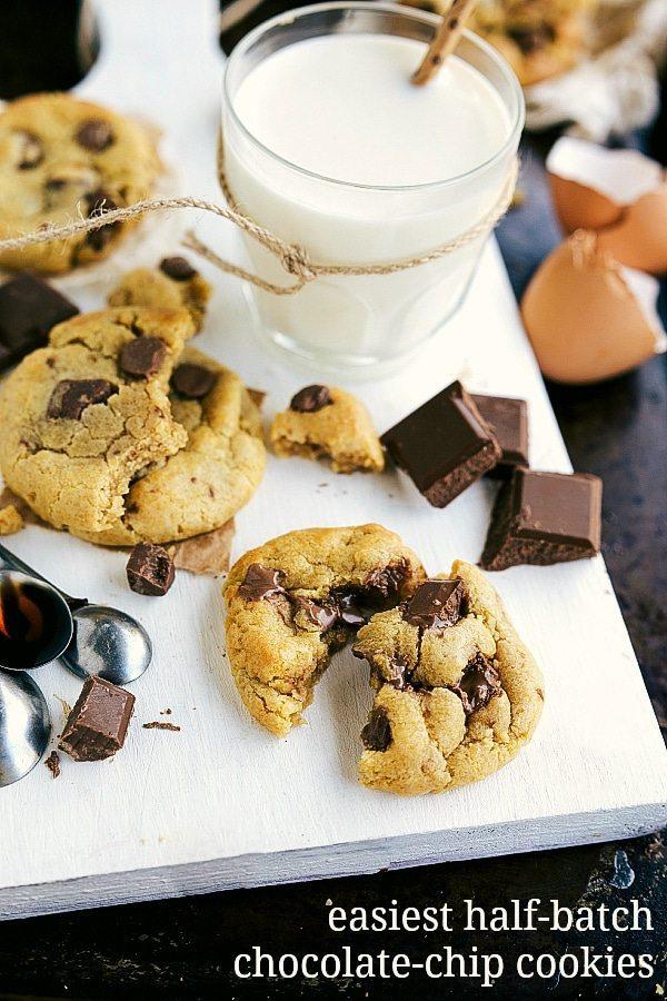 Easiest Half-Batch CC Cookies -- no mixer needed only 8 ingredients!