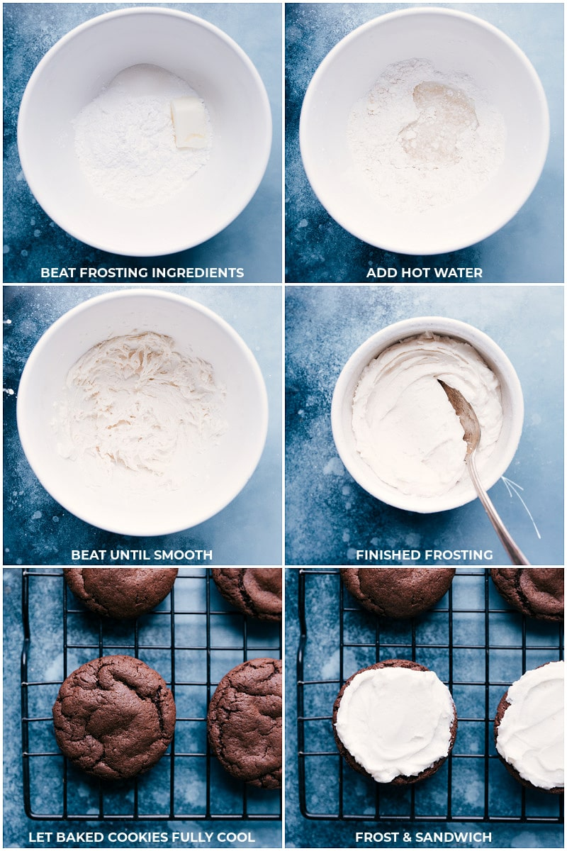 Process shots: frosting for Homemade Oreos