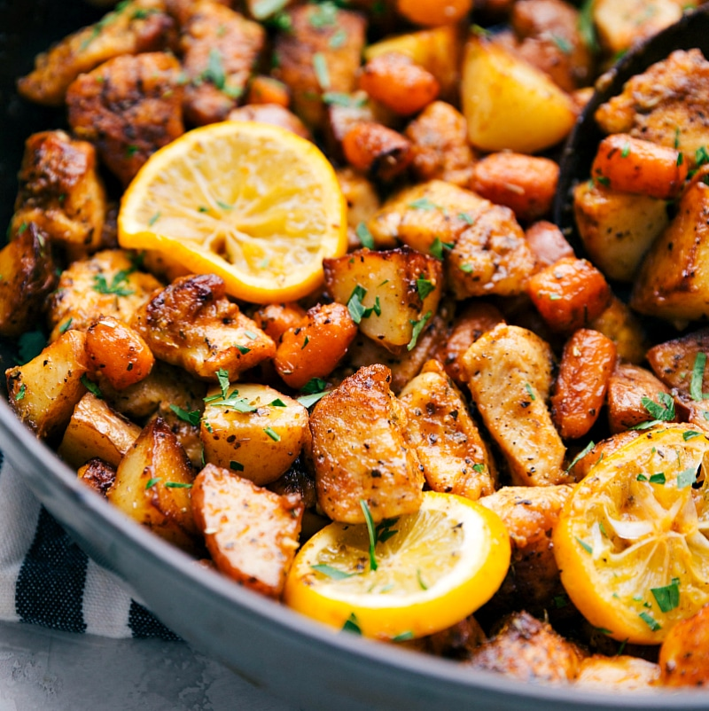 Skillet Chicken With Roasted Potatoes Carrots Recipe: {One Skillet} Lemon Chicken And Potatoes