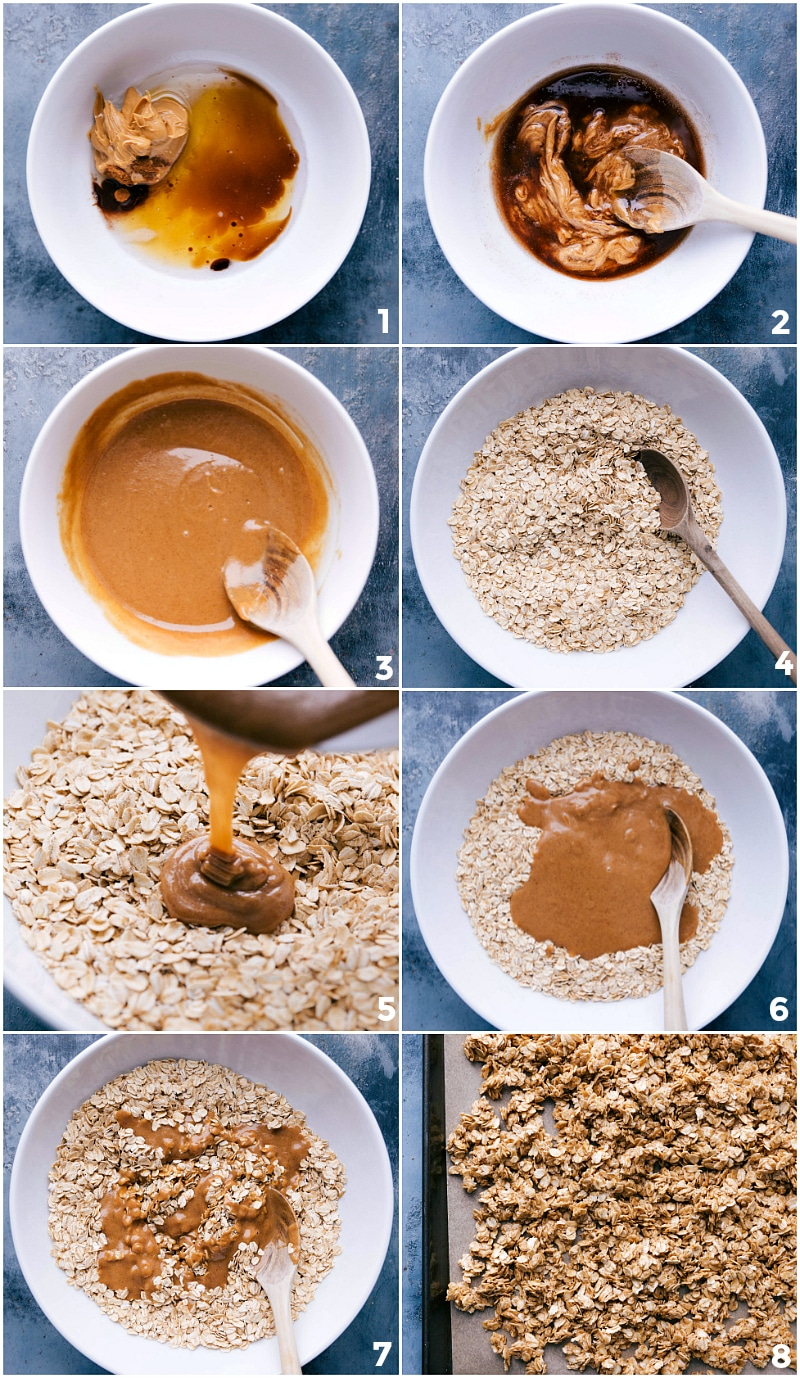 Process shot-- images of all the ingredients being added for Peanut Butter Granola and then put on a sheet pan.