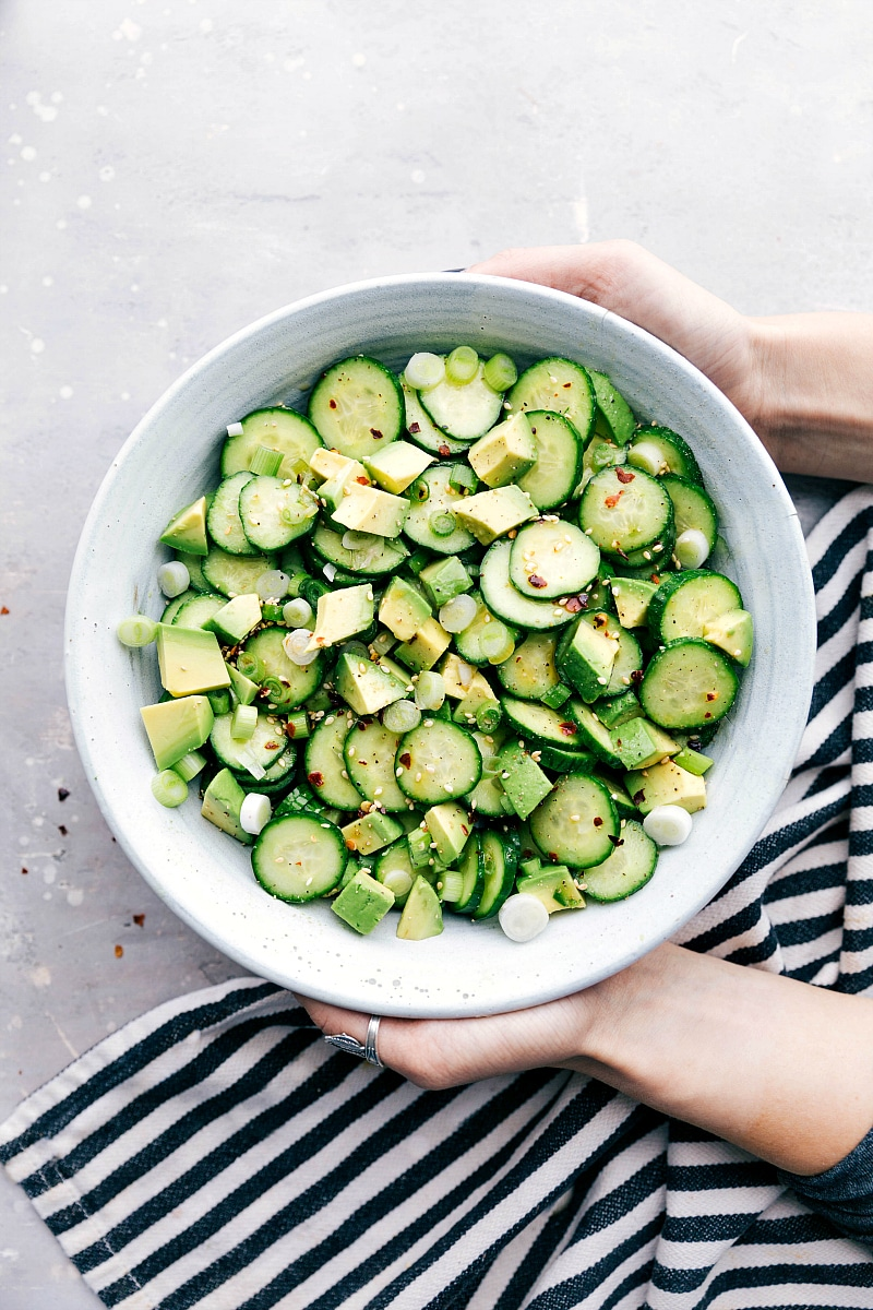 Image of the asian cucumber salad in a bowl ready to serve
