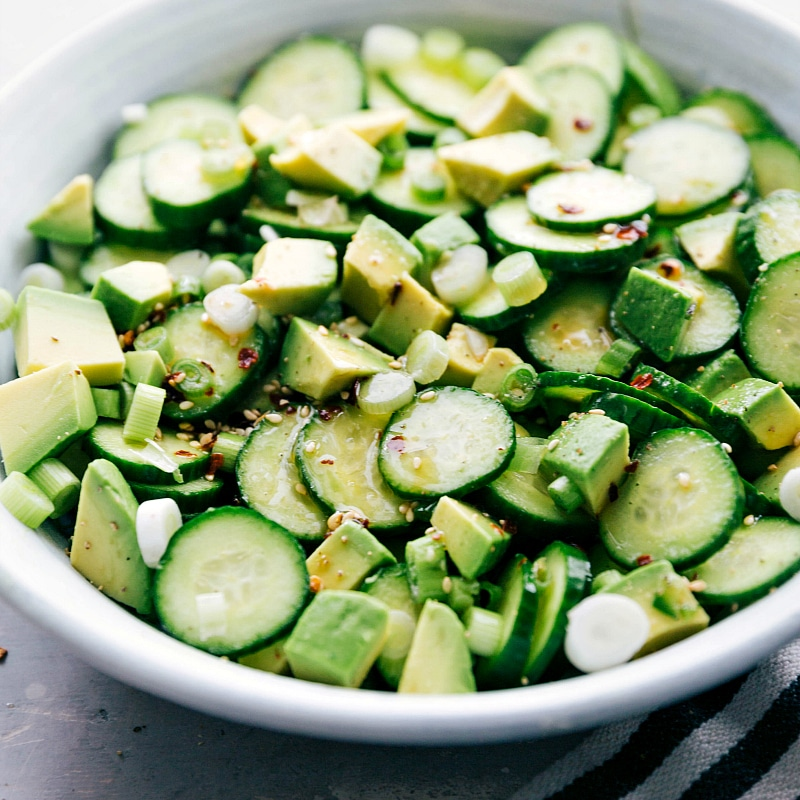 Image of the ready to eat spicy cucumber salad in a bowl