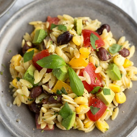 Basil Lime Orzo Pasta packed with Veggies