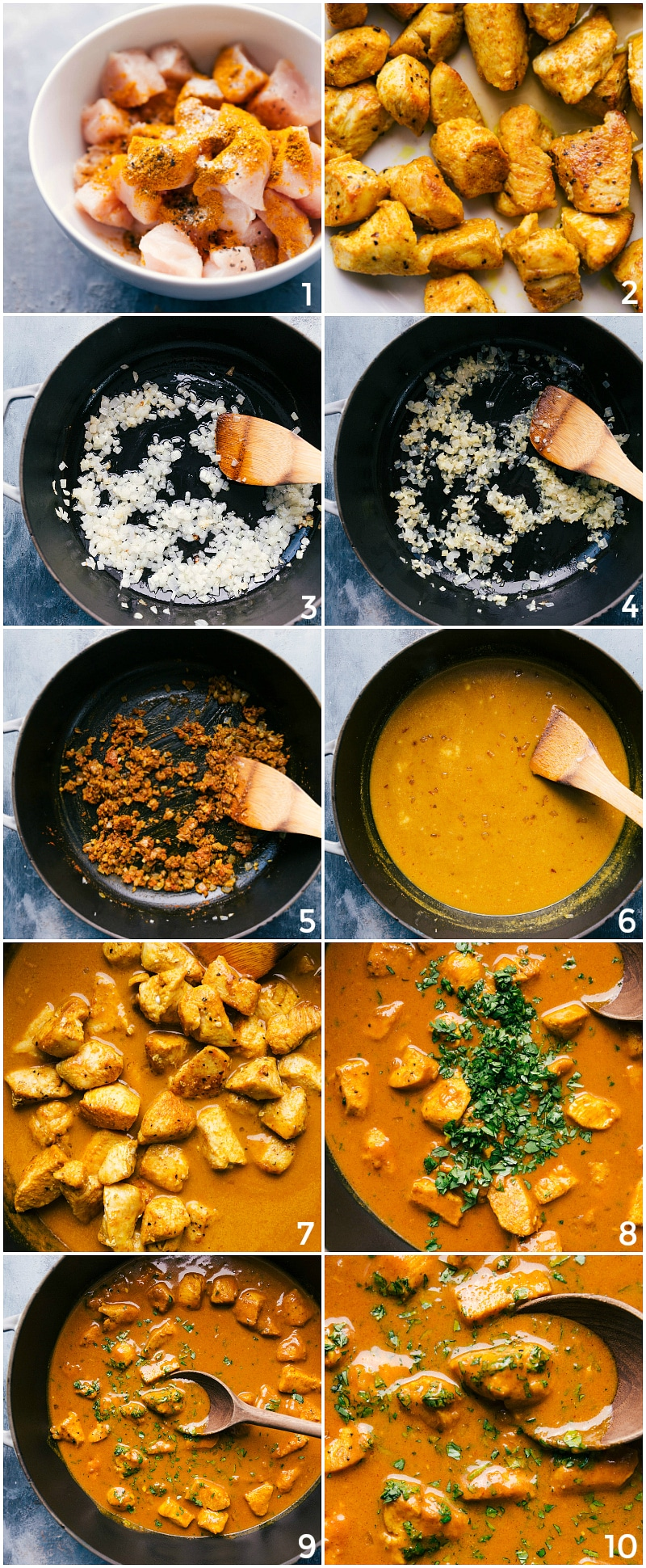Process shots-- images of the chicken curry being made from start to finish.