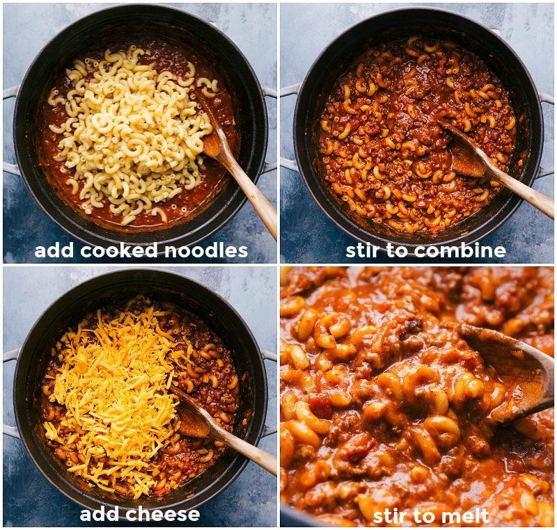Process shots-- images of the cooked pasta being added to the beef tomato mixtures, then cheese being added, and it all being mixed together.
