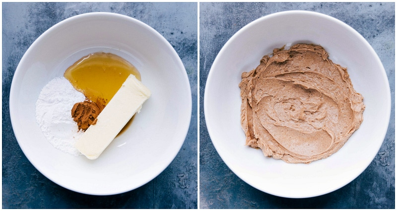 pictures of the ingredients in a bowl, before and after whipping.