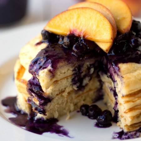 Healthy Greek Yogurt Pancakes with Blueberry Syrup