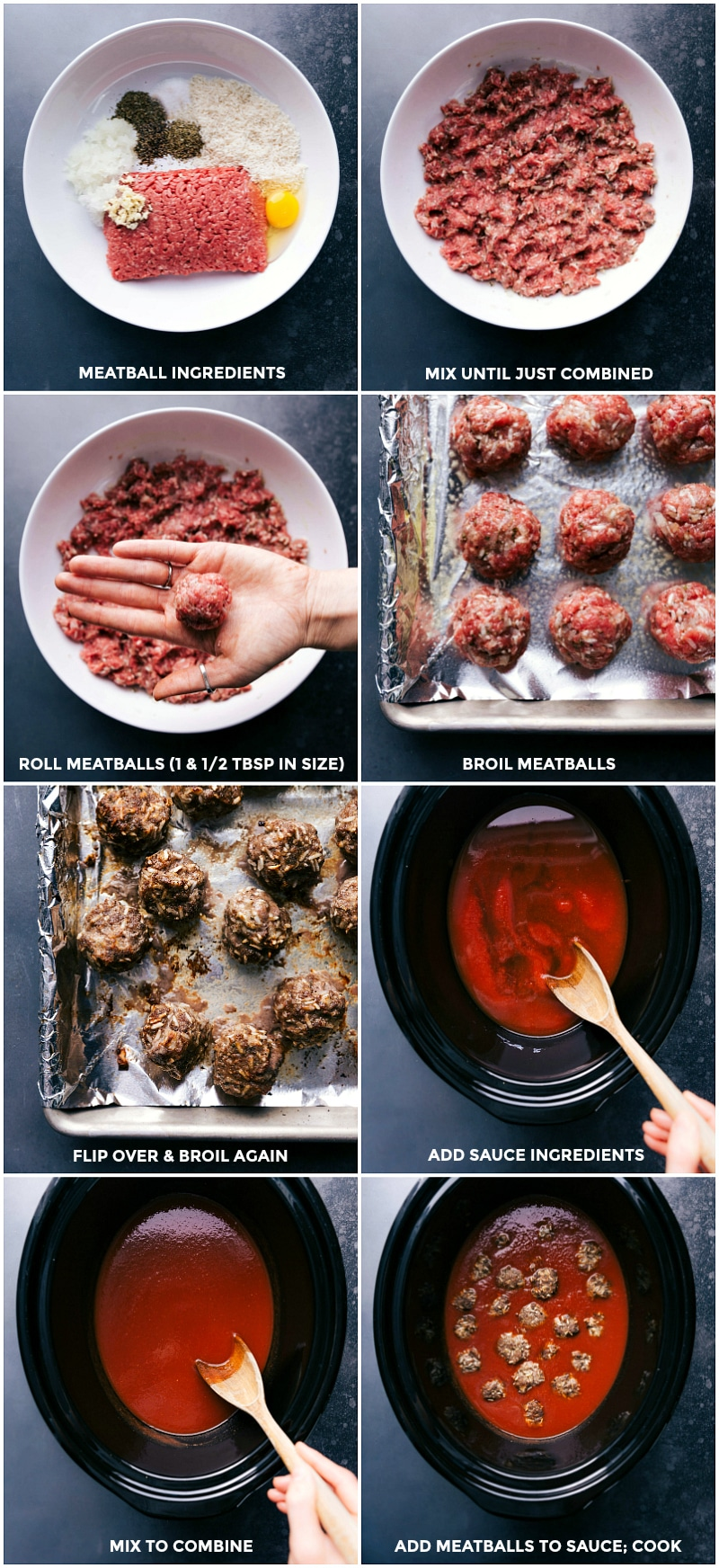 Process shots-- images of the meatballs being made and broiled; then added to the slow cooker.