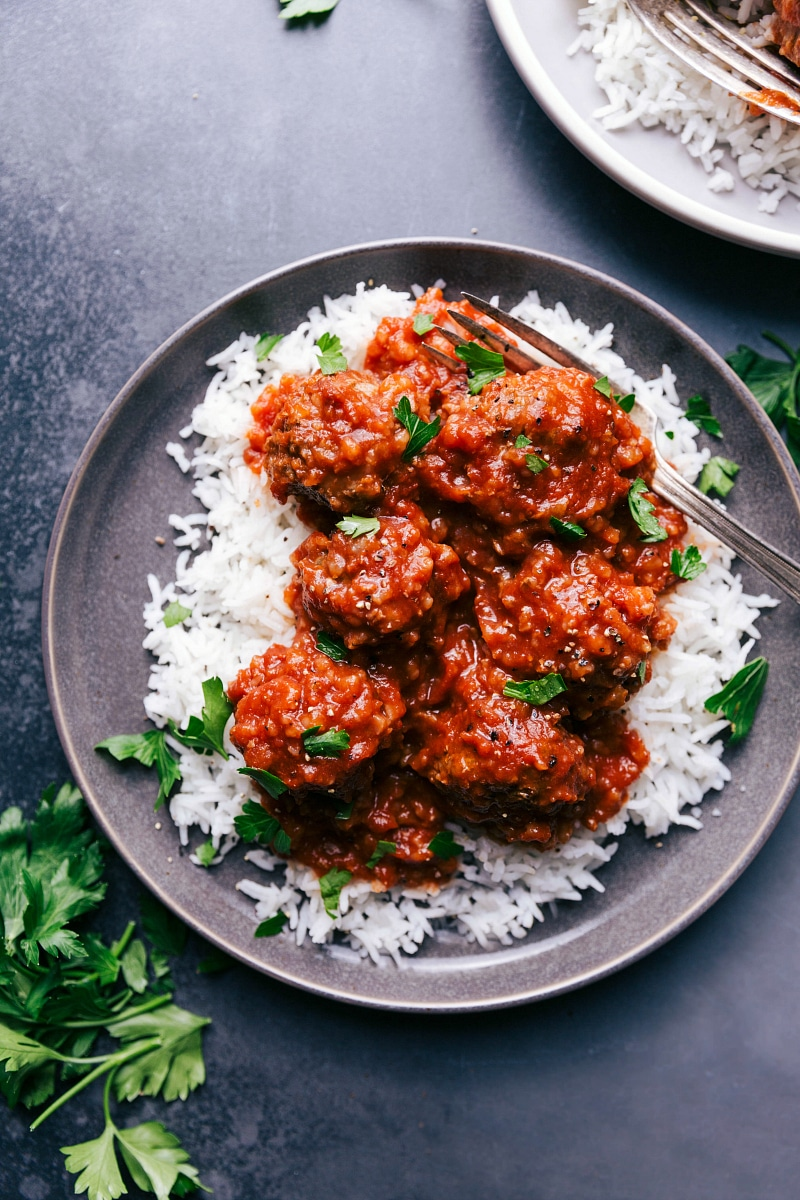 Overhead image of Porcupine Meatballs over a bed of rice.