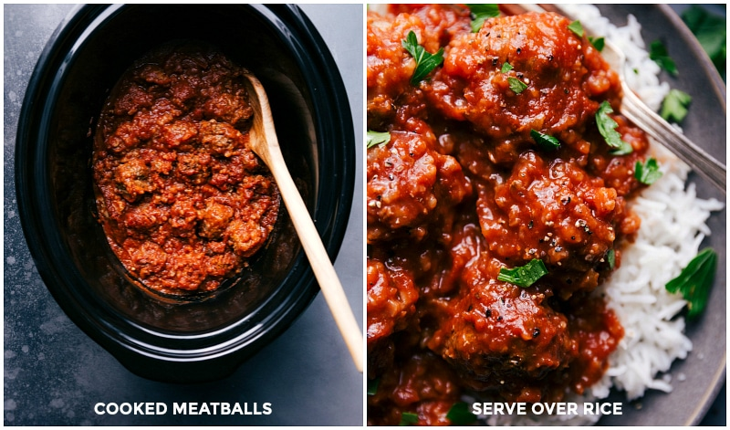 Process shots-- images of the cooked meatballs in the slow cooker; meatballs being served over the rice.