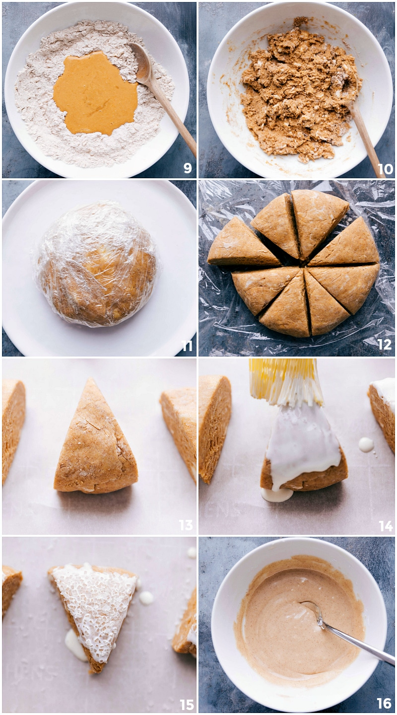 Process shots-- images of the scone dough being mixed together, formed and cut into triangles, topped with sugar and heavy cream before being baked.
