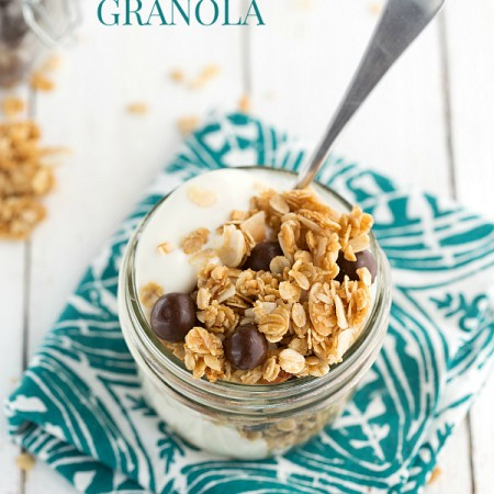 BIG cluster granola made with coconut oil and toasted coconut!