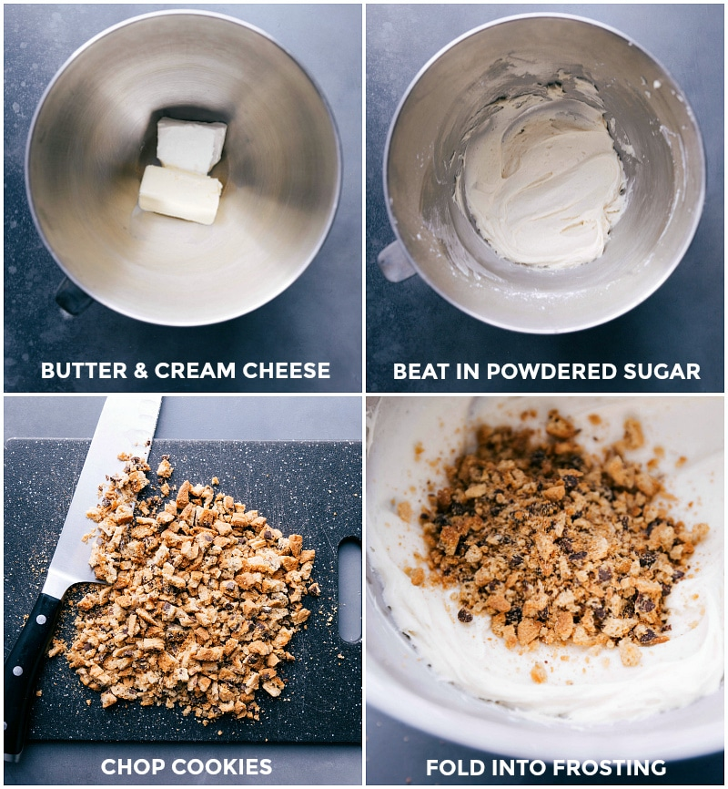 Process shots: butter and cream cheese in a mixer bowl; beating in powdered sugar; chopping cookies; folding the cookie crumbs into the frosting.